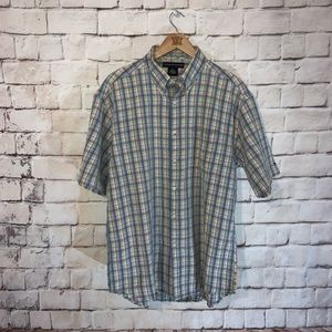 Tommy Hilfiger Shirt, Button Front, Short Sleeve L